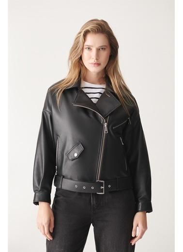 Black Noble Helen Siyah Oversize Deri Ceket Siyah